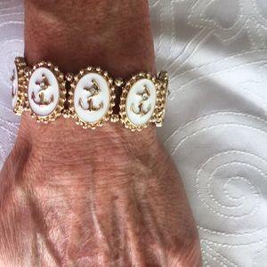 Gold and White Anchor Bracelet